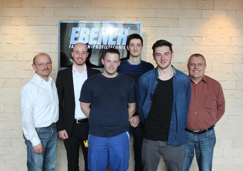 Thomas Schulte (Betriebsleiter), Denis Sohlbach, Daniel Seiler, Lukas Weber, Nico Fritzler, Martin Bohn (Techn. Leiter), v.l.n.r.